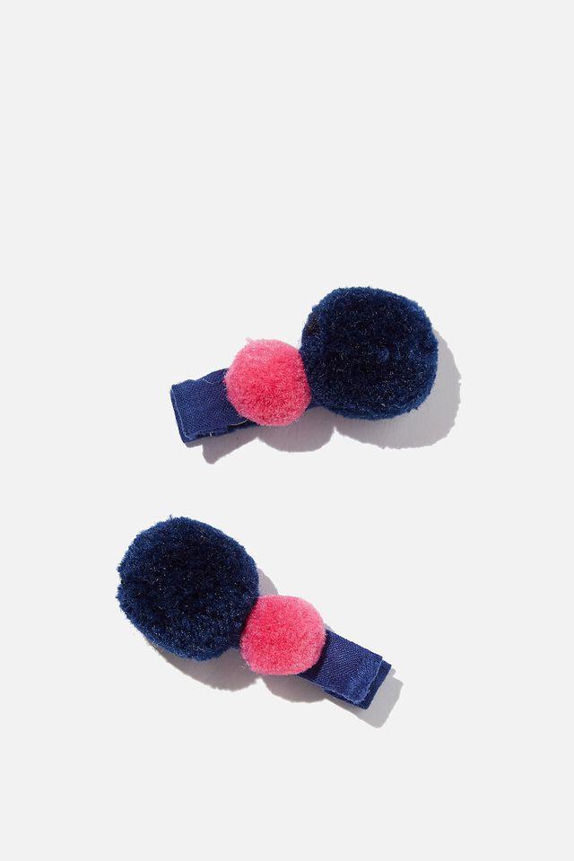Hair Clip  - Pom Poms, NAVY/TULIP POM POMS