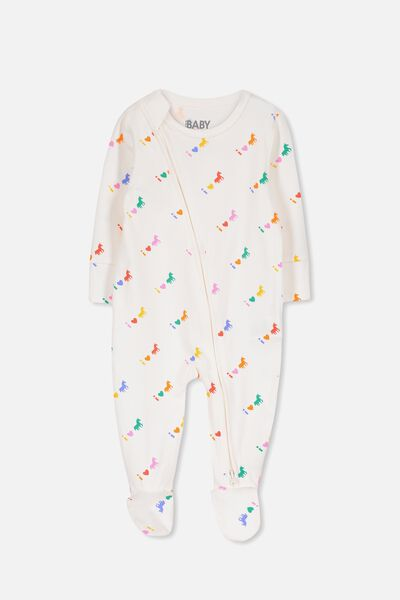 Mini Zip Through Romper, VANILLA/I LOVE UNICORNS