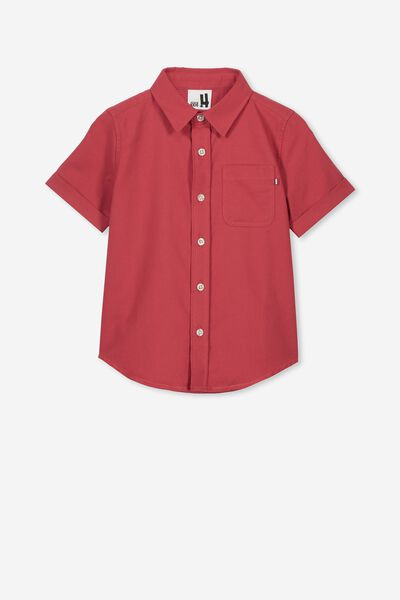 Resort Short Sleeve Shirt, BURNT RED OXFORD