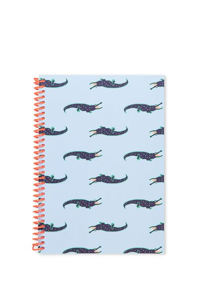 A5 Everyday Lined Notebook, BLUE CROC