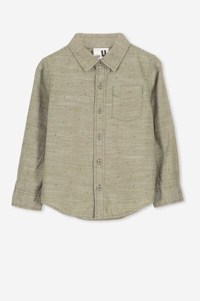 Noah Long Sleeve Shirt, GREEN/STARS