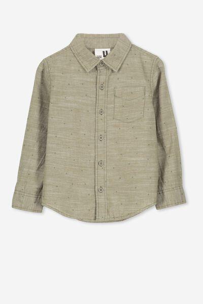 Noah Long Sleeve Shirt, GREEN/STARS