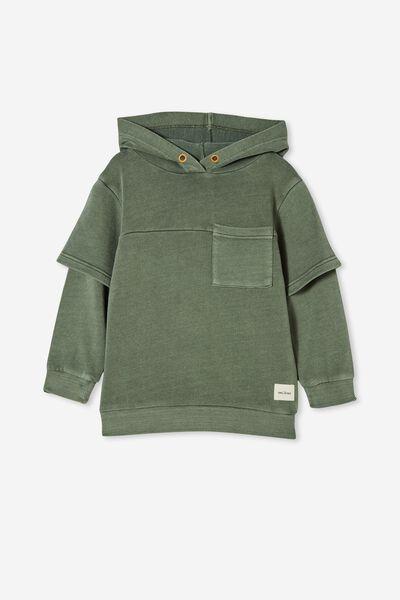 Jax Double Sleeve Hoodie, SWAG GREEN/GARMENT DYE