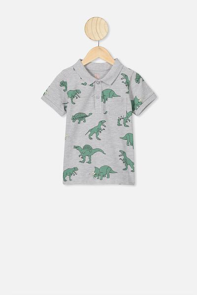 Kendricks Polo, SUMMER GREY MARLE/GREEN DINOS