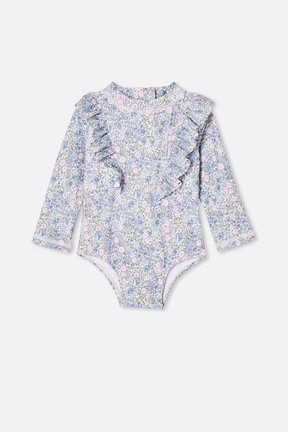 Tori Long Sleeve Swimsuit, VANILLA/DUSK BLUE VINTAGE FLORAL