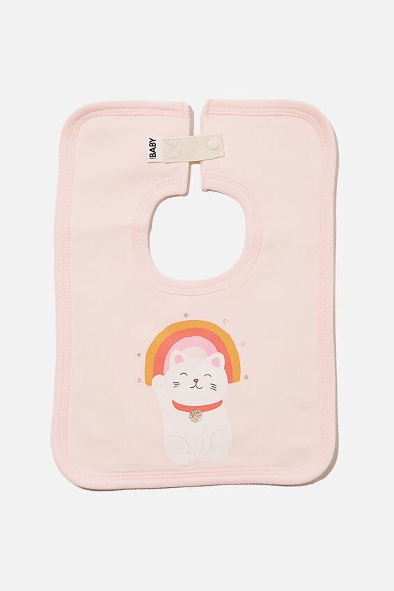 The Square Bib, CRYSTAL PINK/LUCKY CAT