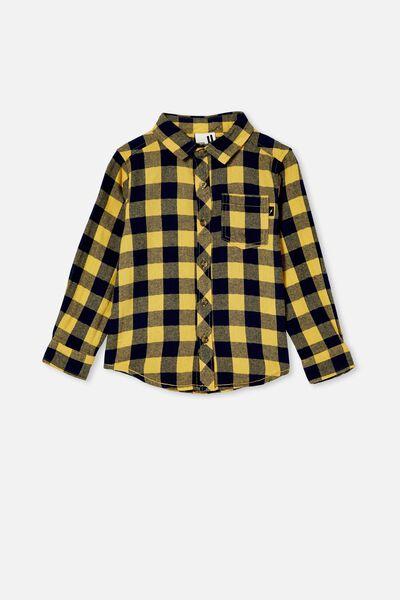 Rugged Long Sleeve Shirt, HONEY GOLD/NAVY BUFFALO CHECK