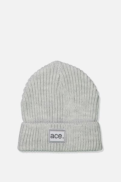 Winter Knit Beanie, GREY MARLE/RIB