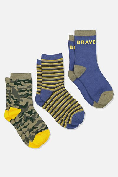 Kids 3Pk Crew Sock, BRAVE CAMO/PETTY BLUE