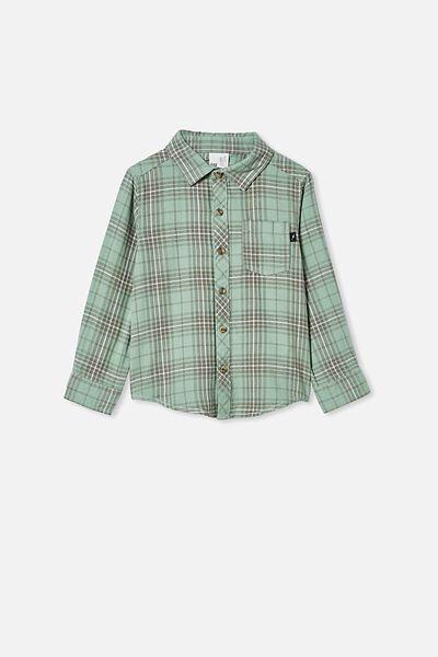 Rugged Long Sleeve Shirt, GREEN PLAID CHECK