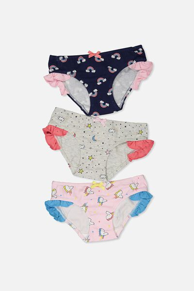 Girls Ruffle Undie Pack, DONUTS AND UNICORNS MIX