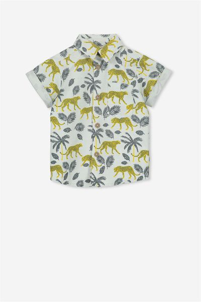 Zac Short Sleeve Shirt, VANILLA/PALM