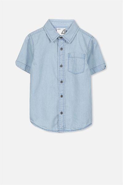 Jackson Short Sleeve Shirt, LT BLUE CHAMBRAY