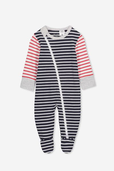 4a745b43e Mini Zip Through Romper, INDIAN INK/LOLLIPOP/WHITE STRIPE