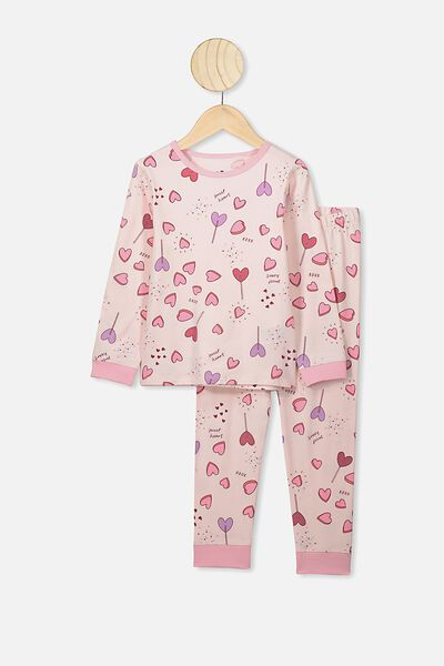 Florence Long Sleeve Pj Set, CRYSTAL PINK/SWEET HEARTS