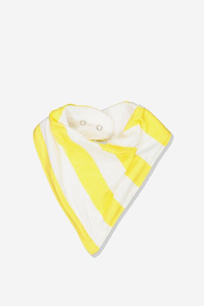 Dribble Bib, VANILLA/DUNGAREE VERTICAL RUGBY STRIPE
