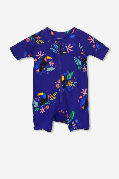 Short Sleeve Harris One Piece Swimsuit, MAGAZINE BLUE/TOUCAN FLORAL
