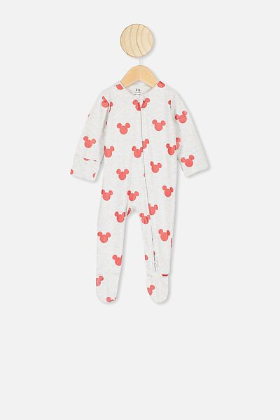 The Long Sleeve Zip Romper, LCN DIS SOFT GREY MARLE/RED MICKEY FOIL