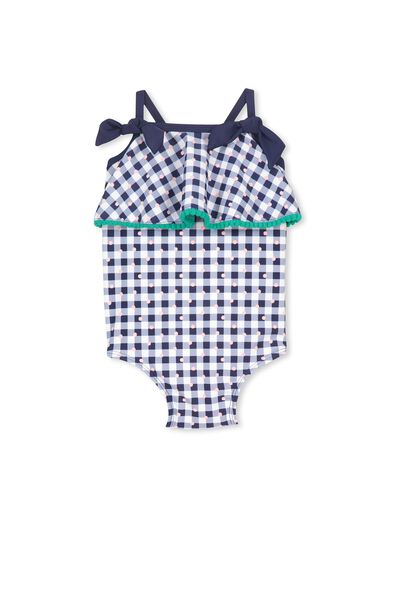 Bells Frill Bathers, PEACOAT/SPOTTY GINGHAM