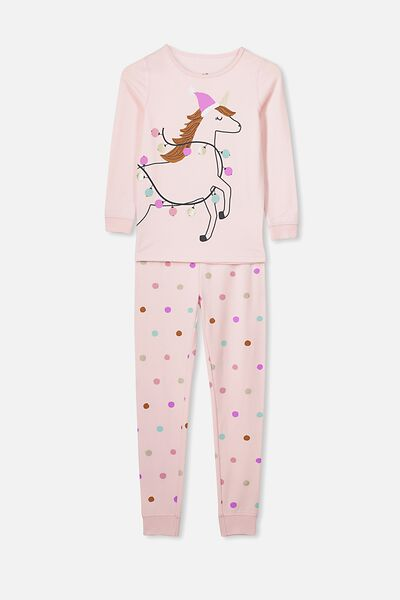 Ruby Long Sleeve Girls Pyjamas, XMAS UNICORN