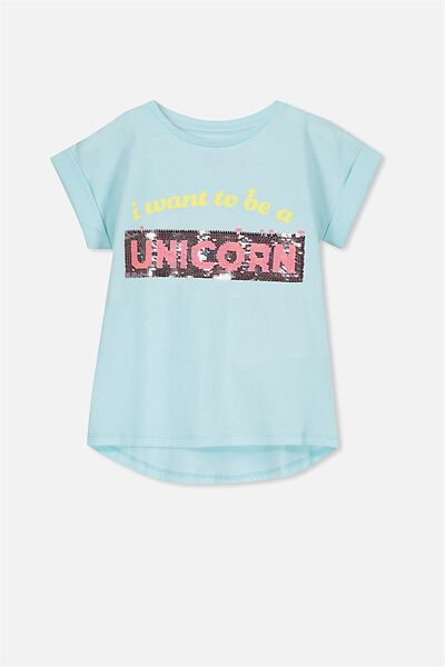 Anna Ss Tee, AQUA TINT INT/UNICORN MERMAID/DROP SHOULDER