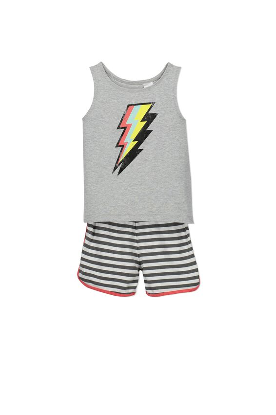 Oscar Boys S/Less Pj Set, LIGHTNING BOLT
