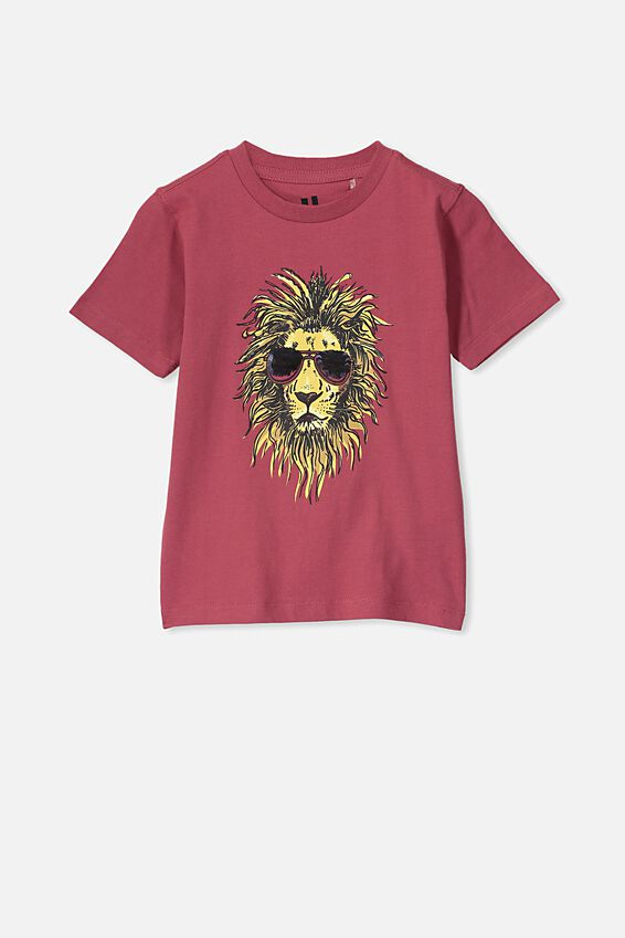 The Downtown Short Sleeve Tee, EARTH RED/LION SEQUIN GLASSES