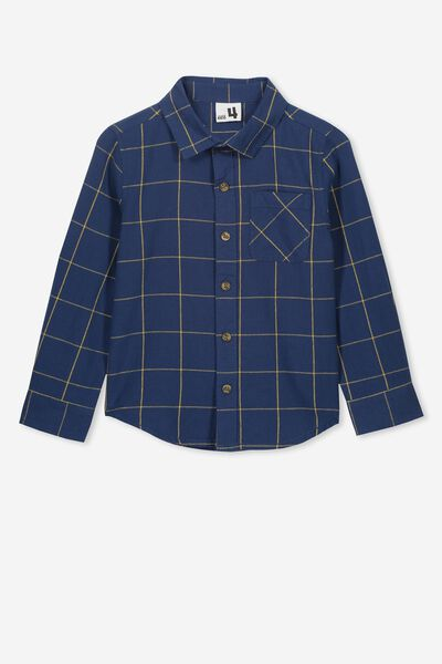 Prep Long Sleeve Shirt, NAVY WINDOW PANE CHECK