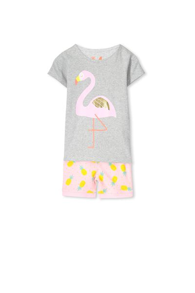 Chloe Short Sleeve Girls Pj Set, FLAMINGO PINEAPPLE