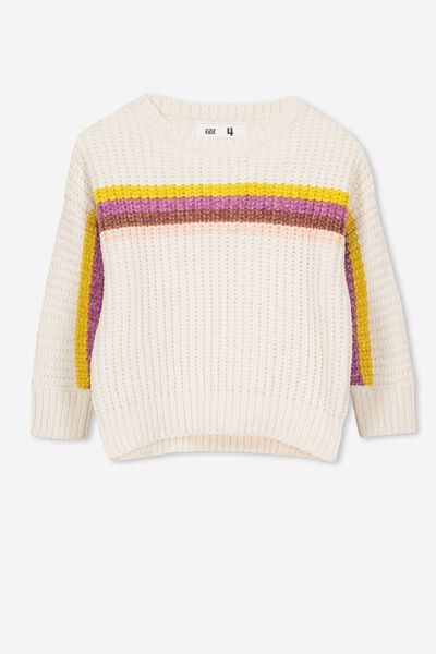 Shelly Knit Jumper, SUMMER GREY/MULTI STRIPE