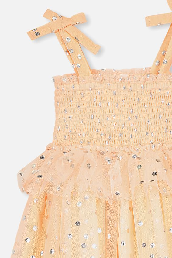 Iris Tulle Dress, PEACH TANG/SILVER SPOT