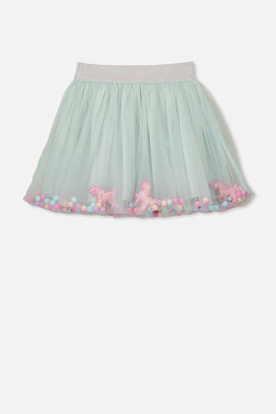 Trixiebelle Tulle Skirt, MINTY BLUE/UNICORN CONFETTI