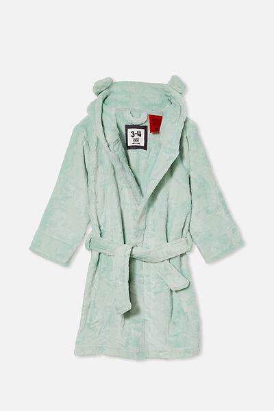 Boys Hooded Long Sleeve Gown, DUCK EGG