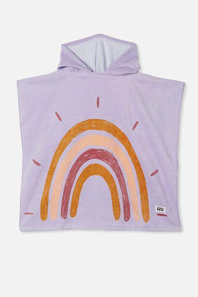 Kids Hooded Towel, LILAC RAINBOW