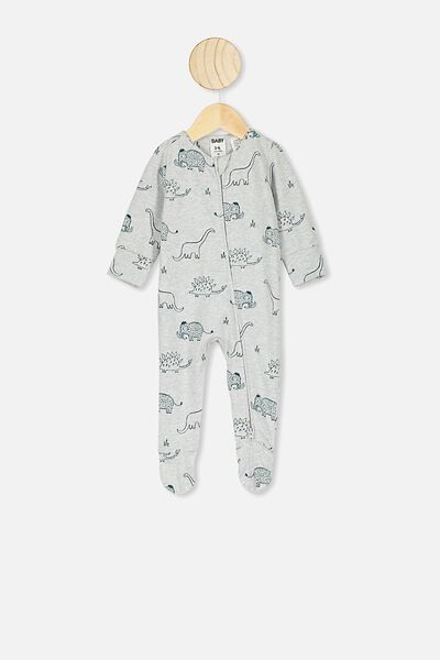 The Long Sleeve Zip Romper, CLOUD MARLE DINO MAMMOTH