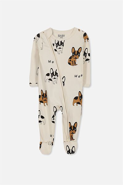 Sleep Mini Zip All In One Jumpsuit, DARK VANILLA/WOOF WOOF