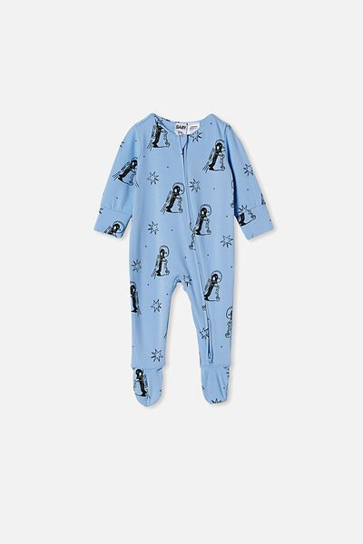 The Long Sleeve Zip Romper, POWDER PUFF BLUE/PENGUIN ASTRONAUT