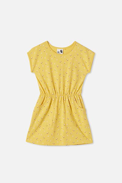 Sigrid Short Sleeve Dress, SUNSHINE/SMALL FLOWERS