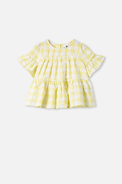 Frede Short Sleeve Frill Top, LEMON DROP GINGHAM