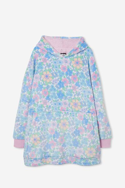 Snugget Adults Oversized Hoodie, BRONTE RETRO FLORAL VANILLA