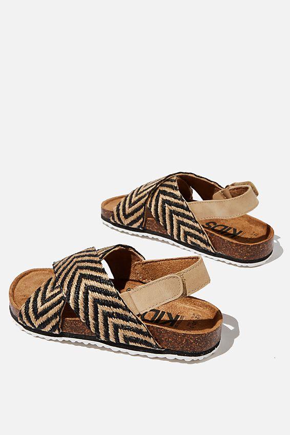 Thea Crossover Sandal, BLACK ECRU CHEVRON