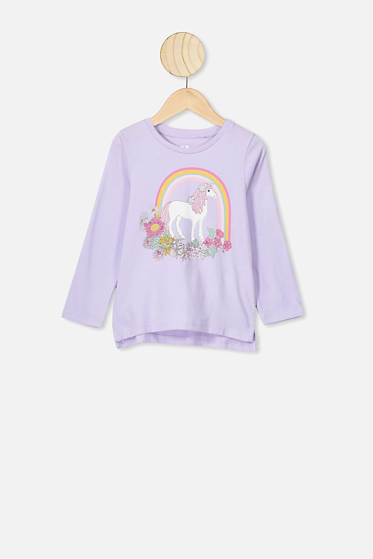 Little Girls White Multi Unicorn Flowery Head Print Cotton T-Shirt 2T-5