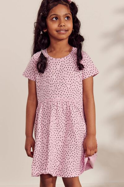 Freya Short Sleeve Dress, PINK LAVENDER/MINI DASHES