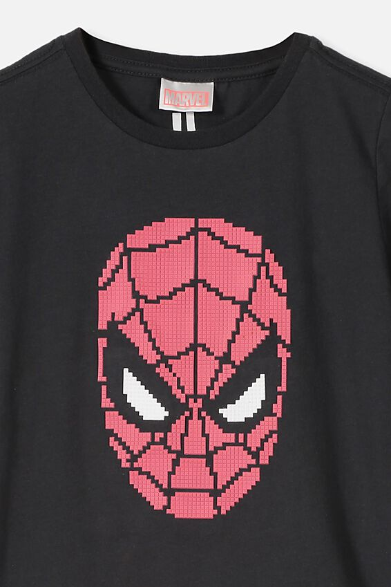 Spiderman Short Sleeve Tee, LCN MAR SPIDEY BLOCK STACK/PHANTOM