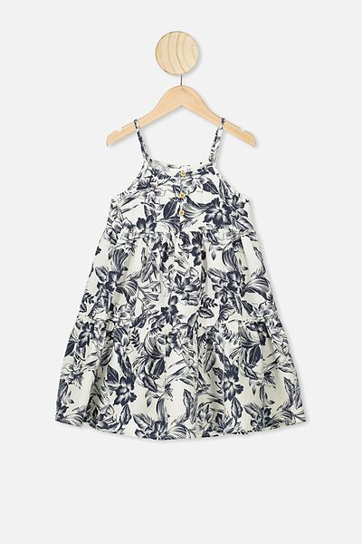 Mackenzie Sleeveless Dress, DARK VANILLA/TROPICAL FLORAL