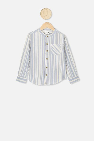 Grandpa Collar Prep Shirt, DUSTY BLUE/VANILLA STRIPE