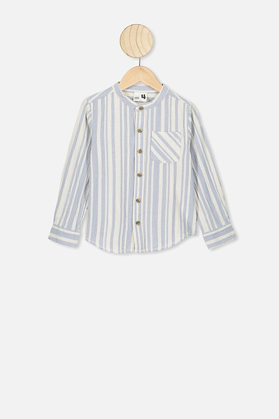 Grandpa Collar Prep Shirt, DUSTY BLUE VANILLA STRIPE