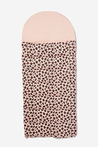 Slumber Party Sleeping Bag, PEACHY LEOPARD