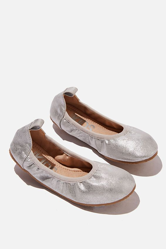 Primo Ballet Flat - Matte Gold & Silver Ribbon Tie, SILVER SHIMMER TIE UP