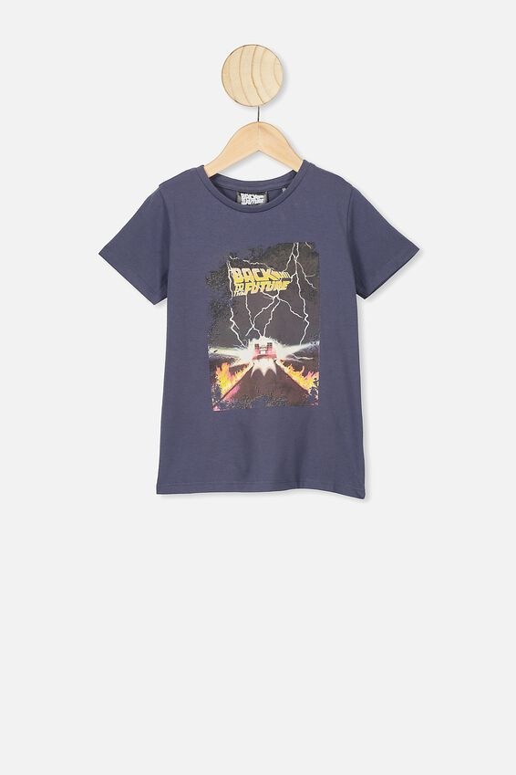 Lux Short Sleeve Tee, LCN UNI VINTAGE NAVY/BACK TO THE FUTURE